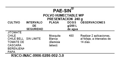 Pae-Sin Polvo Humectable - Dosis y Cultivos